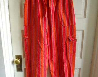 Vintage 80s GUATEMALAN COTTON Orange Striped Pants sz M/L