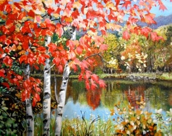Fall Landscape on the Pond original artwork oil painting gallery wrapped Free Shipping USA