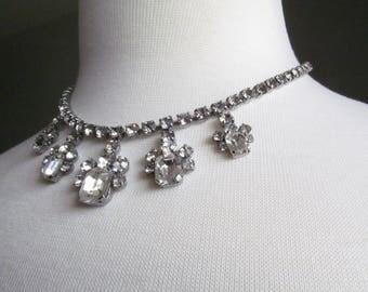 Wedding Bridal Rhinestone Necklace; Bridal Jewelry; Vintage Rhinestone; Prom Necklace; Wedding Necklace; Prom Jewelry