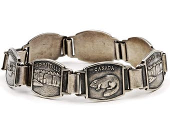 Niagara Falls Souvenir, 925 Sterling Silver, Canada Tourist Bracelet, Link Chain Bracelet, Beaver Castor Jewelry, Vintage Travel Memorabilia