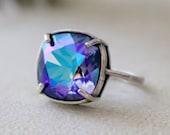 Tanzanite Glacier Blue | Swarovski Ring | Adjustable | Antique Silver | Square Cushion | Gift For Her | Bridal Jewelry | Wedding Jewelry