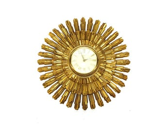 Mid Century Clock, Sunburst Syroco Design, Large Wall Timepiece from 1960's