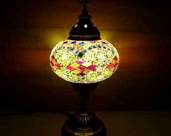 Unique authentic colourful glass mosaic Turkish table lamp, bedroom night lamp, bedside lamp, livingroom lamp.