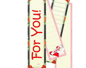 Digi Bookmarks, pink and poppies for Bible Journaling, Gifts, Tags, Valentines