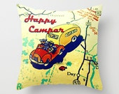 Camper Gifts, Happy Camper Pillow Cover, Happy Camper Gifts for RV, Husband Birthday Gifts, Travel Gifts for Dad, Map Pillow,  Camper Decor
