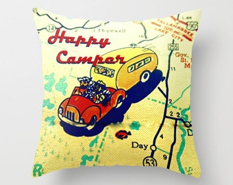 Happy Camper Pillow Cover, Travel Gift, Camper Gifts,  Happy Camper Gifts for RV, Vintage Camper Gifts, Travel Gift, Map Pillow Camper Decor
