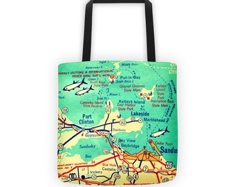 Put- In- Bay Tote Bag, Put in Bay Gift, Put in Bay Map, Ohio Map Tote Bag Hostess Gift, Lake Erie Map Port Clinton Beach Bag Tote Aqua 15x15