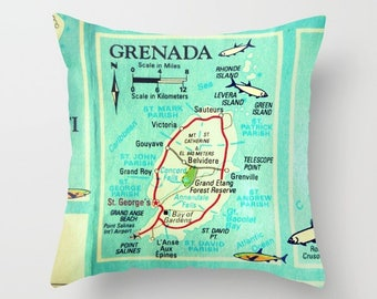 Grenada Map Pillow Cover 18x18, Grenada Pillow, Caribbean Island, Map Throw Pillow Decorative Pillow for Couch Throw Vintage Grenada Map