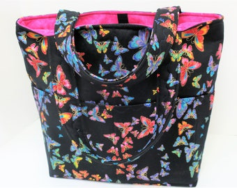 Clarence Sale, Free Shipping, Butterfly Sewing Bag, Large Purse Bag, Diaper Bag, Knitting Bag, Craft Bag, Fabric Purse, Shoulder Bag Purse