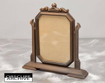 Stunning Art Deco Swing Frame - Warm Gold Tone Wood Finish - Unusual 6 x 8 Photo Size - Vintage 1940's