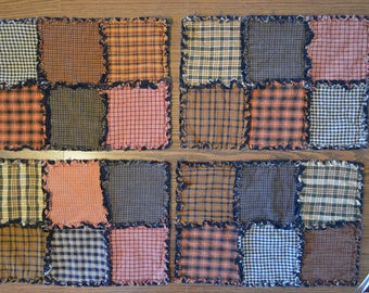 4 Rag Quilt Placemats Homespun Cotton Fabric