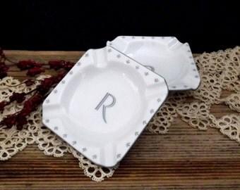 White Ceramic Ashtrays - Small Vintage Ceramic Ashtrays - Promotional Ashtrays - Vintage Initial Ashtrays - Tiny Ashtrays - Tobacciana