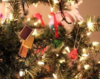 Mini Book Ornament - Browns Neutrals - 3 Book Pendant Ornament
