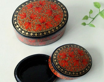 Papier Mache Boxes - Set of two Fair Trade Handmade Red leaf Papier Mache Lidded Boxes - Great Gifts