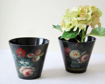 SALE - Papier Mache Planters - Pair of Beautiful Antique Handmade Papier Mache Pots with Hand Painted Floral Designs