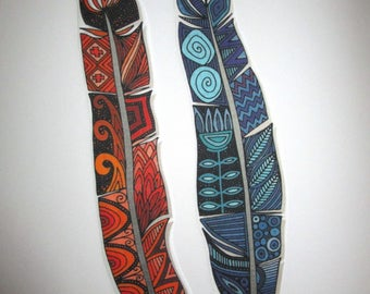 """2 Indian Feathers Iron On Patch Large 11"""""""