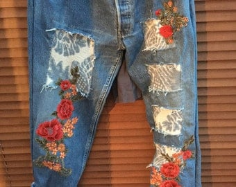 Made to Order RitaNoTiara vintage customised Levis jeans all sizes Embroidery patch patch roses floral denim damask mid west prairie boho
