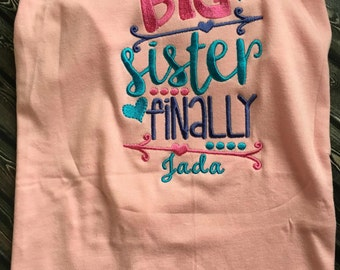 Pet Shirt, Dog Shirt, Dog Big Sister Shirt, Pet Birth Announcement, Dog Sister, Gender Reveal, Pet Items, Pet Clothing, Birth Announcment