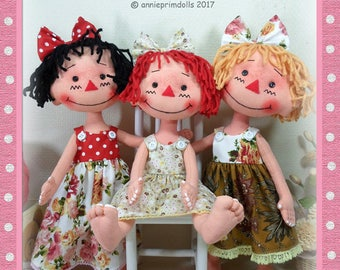 "14"" Cloth Doll Pattern, Soft Doll Pattern, Primitive Doll Pattern, Raggedy Ann Pattern, PDF Doll Pattern, Digital Download, Instant Download"