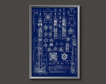 Vintage Russian Soyuz Rocket Blueprint Plans Poster // blueprints plans rockets spacecraft space race USSR russians orbit NASA cosmonaut
