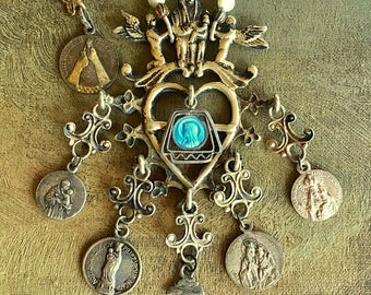 Heart and Cherub Multifaceted Religious Medal Necklace