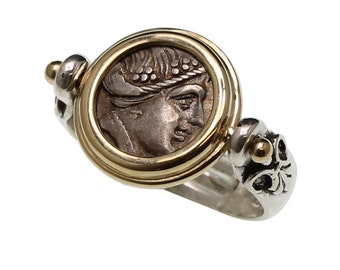gold coin ring, silver coin ring, unusual ring, greek coin ring, ancient coin ring, old coin ring, antique coin ring, women's coin ring
