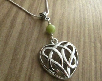 Celtic Irish Sister Knot and Connemara Marble Necklace