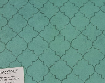 Single Sheet Scrapbook Paper 12 x 12 American Crafts Green Lattice Print Design Single-Sided