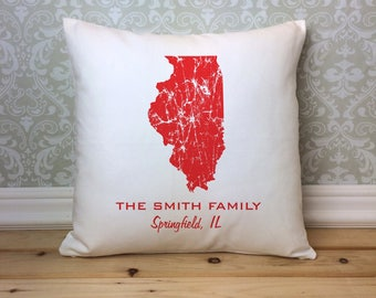 Illinois Pillow, State Pillow, Personalized  State Pillow, Family Name Pillow, Custom State Pillow, Illinois Gift, Housewarming Gift