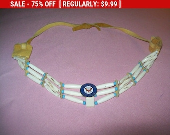 SALE Vintage white bead necklace with Navy Veteran pin