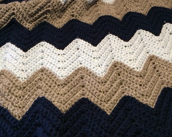 Baby Afghan. Modern navy, grey and blue. Ready to ship to a sweet new baby boy.