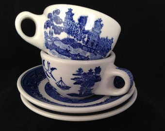 Blue Willow, tea cup, Caribe, Restaurant ware, vintage, diner, set of two