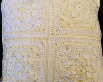 Crochet Cushion Cover - White and Cream