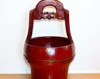 Black Friday SALE... Vintage Asian wood bucket…hand made Asian water bucket…red lacquered bucket.