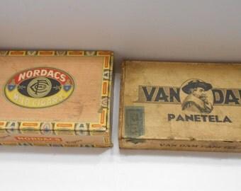 Two (2) Vintage Cigar Boxes, Van Dam Panetela & Nordacs  (BP) Wooden Boxes (C)
