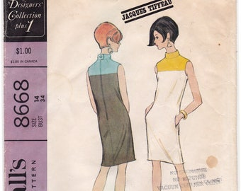 "1967 JACQUES TIFFEAU New York Designer's Collection Color Block Dress Vintage Sewing Pattern [McCalls 8668] Size 14, Bust 34"", Complete Cut"
