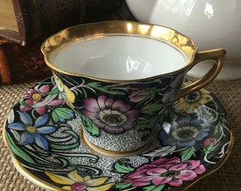 Stunning Rosina Black Chintz Teacup and Saucer made in England