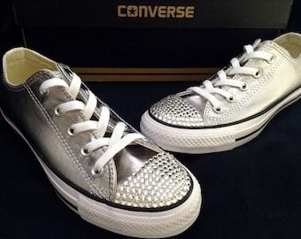 Converse Silver Metallic Low Custom Gray Wedding Glass Slippers w/ Swarovski Crystal Jewel Chuck Taylor Rhinestone Bling All Star Kicks Shoe