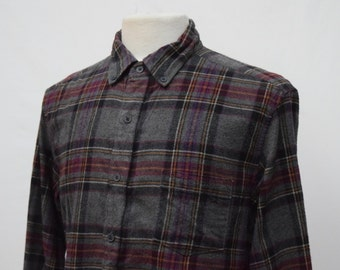Grey & Purple Checkered Flannel Shirt