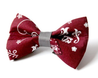 Texas A&M Bow Tie for Dog Collar