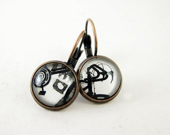 Black & White Bicycle Earrings, Vintage 1975 Mexico Postage Stamp, Neutral Everyday Leverback Dangle Earrings, Bike Cycle Cyclist, Copper