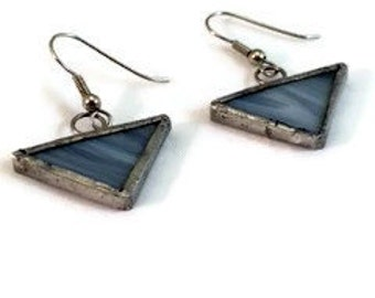 Grey Triangle Stained Glass Earrings, Triangle Stained Glass Earrings, Recycled Stained Glass Jewelry, kimsjoy, Gift for Her, minimalist