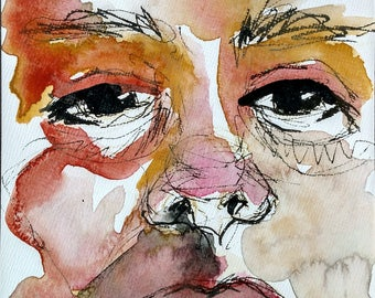 Wide Asleep- 5x7in Original Watercolor & Ink Portrait, Art board