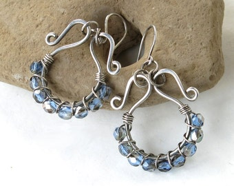 Silver hoop earrings - Blue glass beads sterling wire wrapped