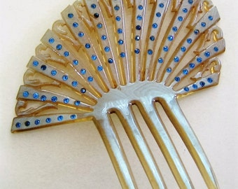 Large Antique Asymmetrical Blue Rhinestone-Studded Victorian-Era Hair Comb / Ornament Early 1900s Celluloid Taupe Color