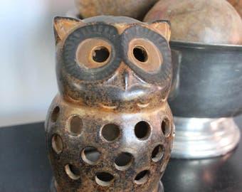 Vintage Owl Candle Holder / Ceramic Owl Figure/Owl Incense holder