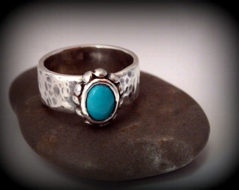 Recycled Silver, Genuine Sleeping Beauty Turquoise, Ring Size 6, Hammered Band, Super Sale Item, Gift