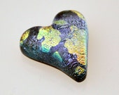 Reserved for Elaine H, Dichroic Heart Cabochon, Dichroic Cabochon, Jewelry Cabochon, Pocket Heart, Glass Heart Cab, Lilac Heart