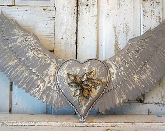 Metal winged heart wall hanging French Nordic white w/ gray distressed large wings w/ embellished heart ooak home decor anita spero design