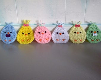 Complete Set of 6 Crocheted Easter Chick Refrigerator Magnets